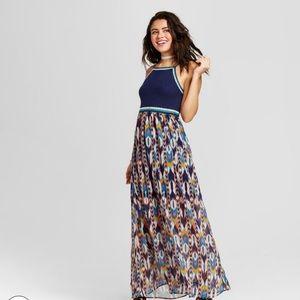 Crochet Top Print Maxi Dress
